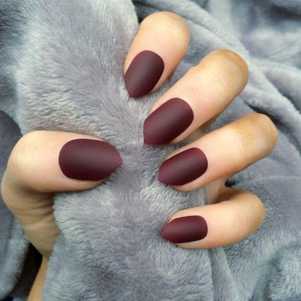Deep Matte Red Nail Design