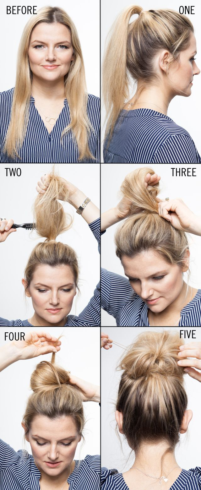 The model showing how to do updos.