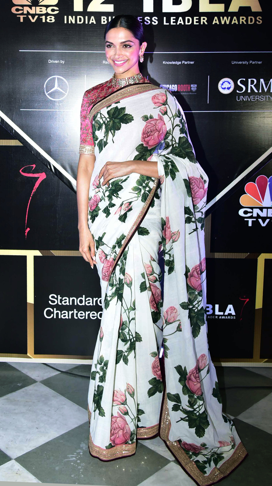 Deepika in a hand-painted saree