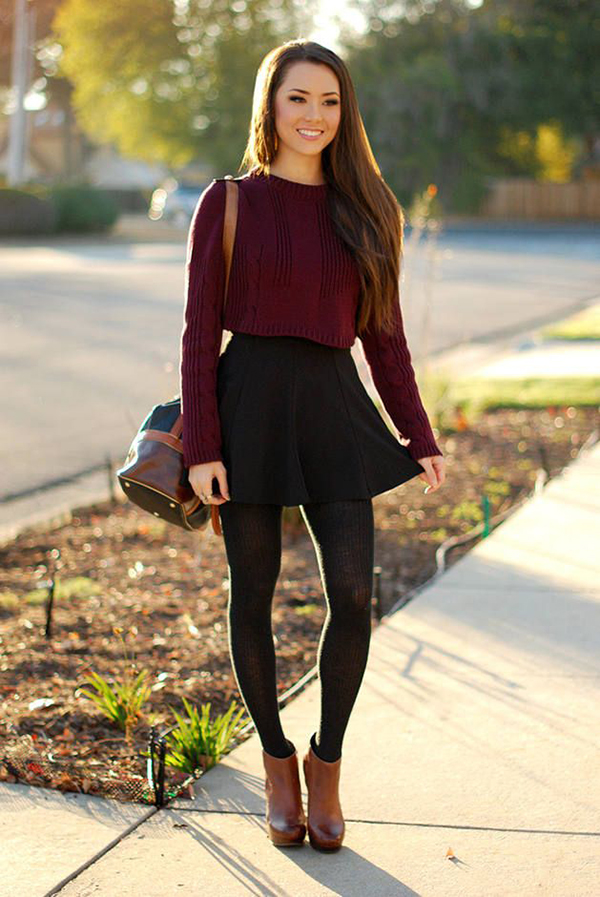 Skirt, leggings and boots
